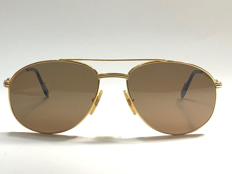 Vintage Cartier Driver Gold Plated 60 Frame France 1990 Sunglasses In New Condition For Sale In Amsterdam, Noord Holland