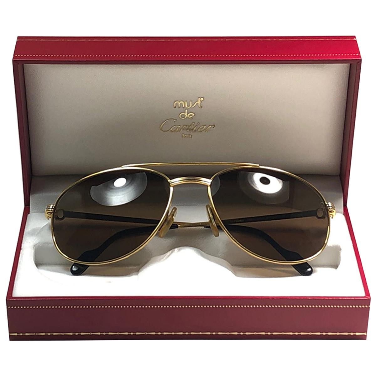 Vintage Cartier Driver Gold Plated 60 Frame France 1990 Sunglasses