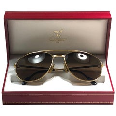 Vintage Cartier Driver Gold Plated 60 Frame France 1990 Sunglasses