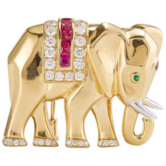 Vintage Cartier Elephant Pin/Brooch in Yellow Gold with Diamond Ruby and Emerald