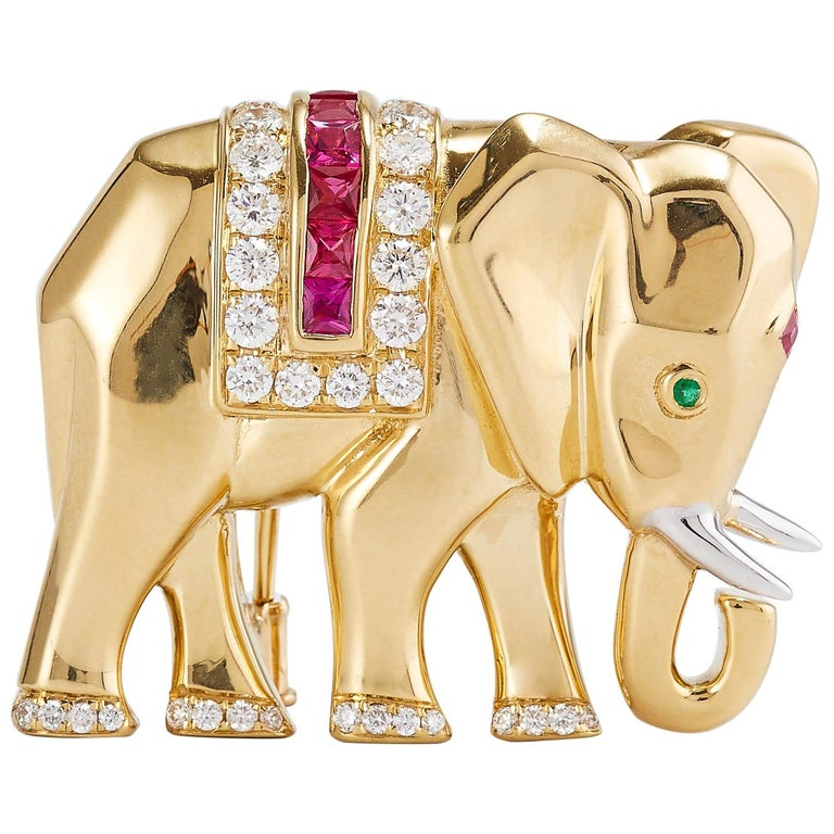Vintage Cartier Elephant Pin/Brooch in Yellow Gold with Diamond Ruby and Emerald For Sale