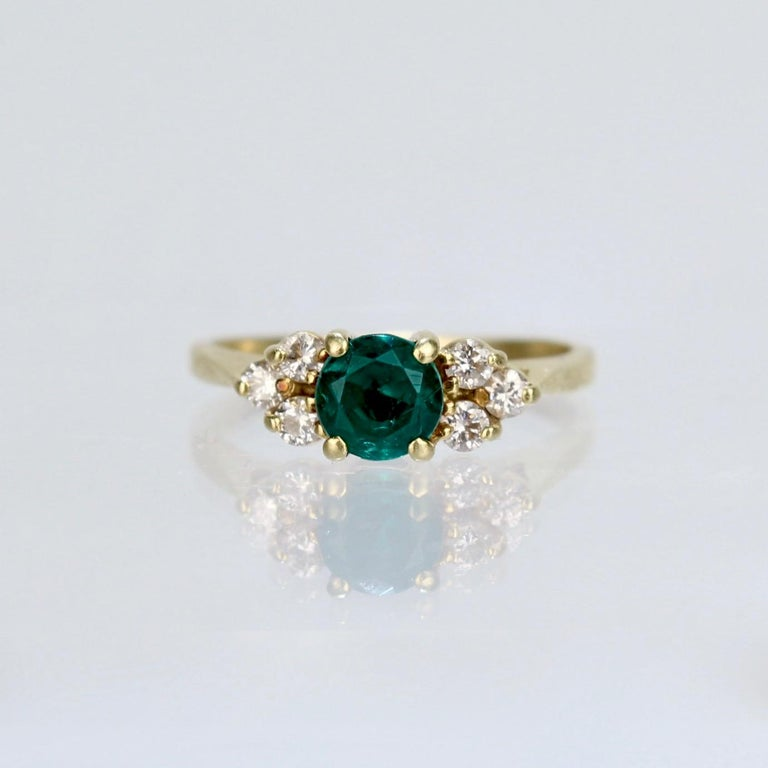 Round Cut Vintage Cardow Emerald, Diamond, and 18 Karat Gold Cocktail Ring For Sale