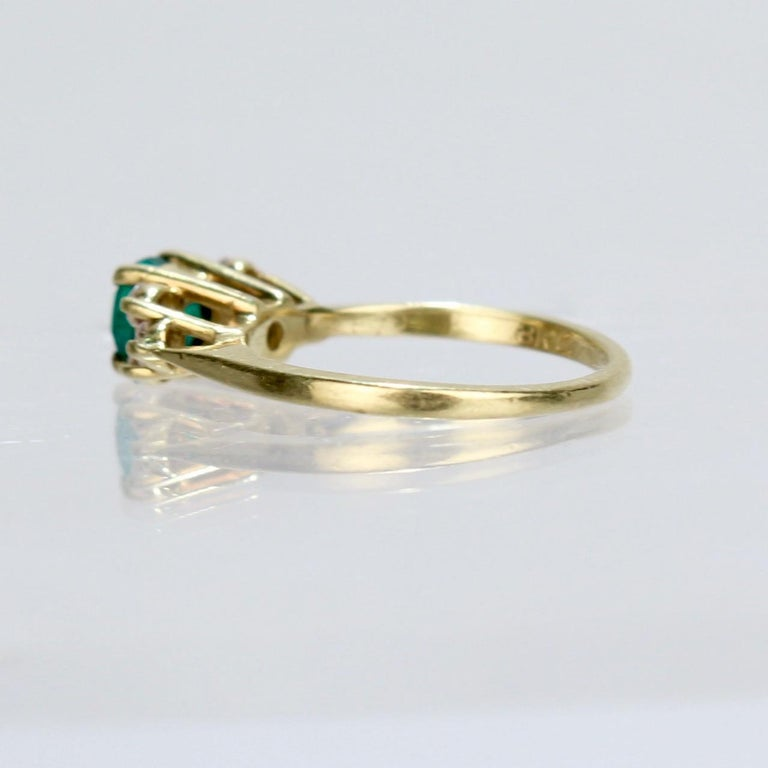 Women's Vintage Cardow Emerald, Diamond, and 18 Karat Gold Cocktail Ring For Sale