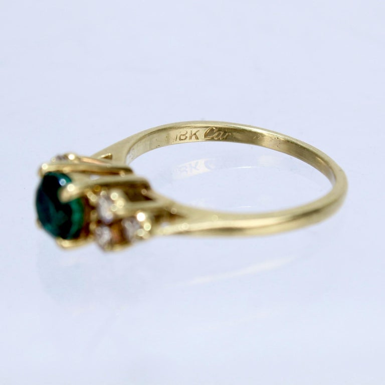 Vintage Cardow Emerald, Diamond, and 18 Karat Gold Cocktail Ring For Sale 2