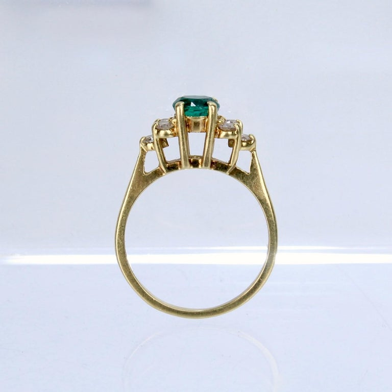 Vintage Cardow Emerald, Diamond, and 18 Karat Gold Cocktail Ring For Sale 3