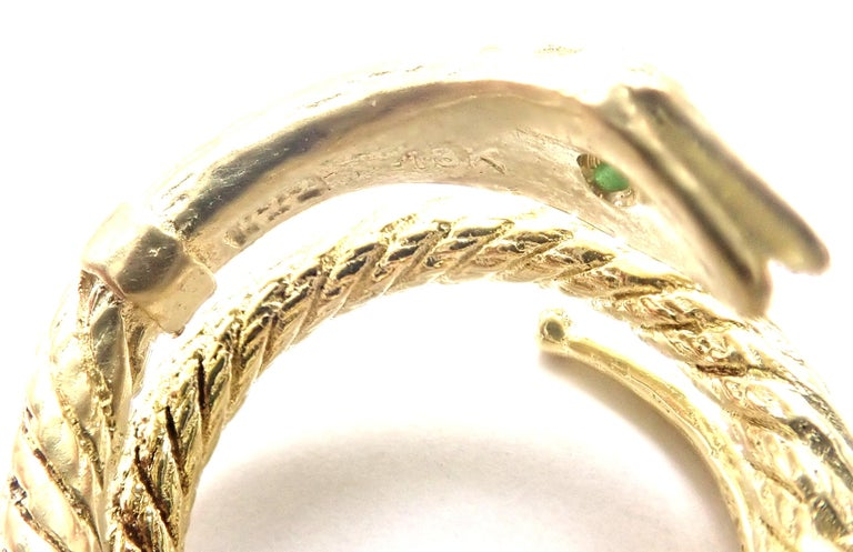 Vintage Cartier Emerald Snake Yellow Gold Band Ring For Sale 4