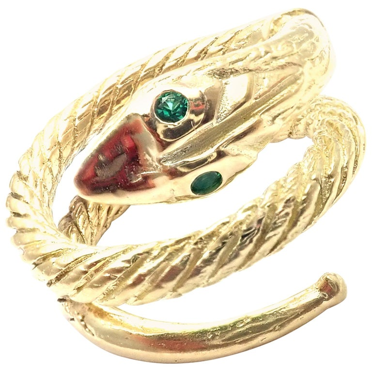 Vintage Cartier Emerald Snake Yellow Gold Band Ring For Sale