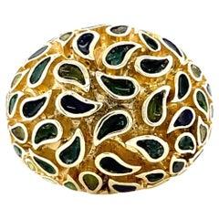 Vintage Cartier Enamel Gold Dome Ring