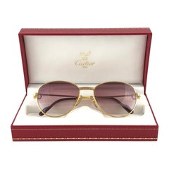 Vintage Cartier France Louis Vintage Heavy Gold Plated Diamonds 55mm Sunglasses