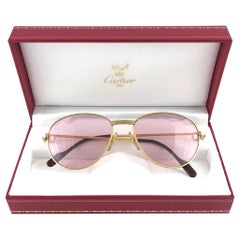 Vintage Cartier France Louis Vintage Heavy Gold Plated Rubies 55mm Sunglasses