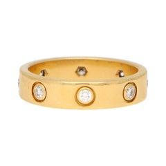 Vintage Cartier Full Diamond Mini Love Ring Set in 18k Yellow Gold