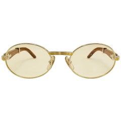 Vintage Cartier Giverny Palisander 18K Gold & Rosewood Glasses 51 20