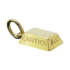 Vintage Cartier Gold Bar Ingot Yellow Gold Pendant