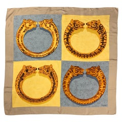 Vintage CARTIER Gold & Grey Twill Silk Scarf