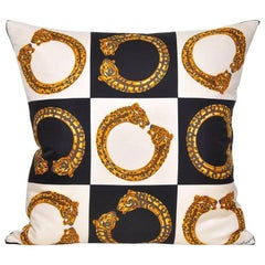 Vintage Cartier Gold Panther Bracelet Jewelry Silk Scarf Cushion Pillow