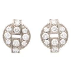Vintage Cartier Himalia Diamond Stud Earrings Set in 18k White Gold