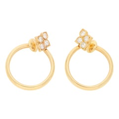 """Vintage Cartier """"Hindu"""" Clip-On Diamond Hoop Earrings in 18 Karat Gold"""