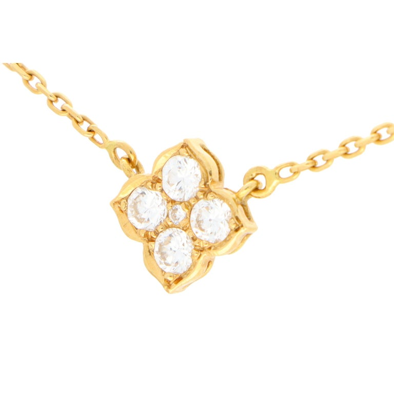 Round Cut Vintage Cartier Hindu Diamond Pendant Necklace Set in 18k Yellow Gold For Sale