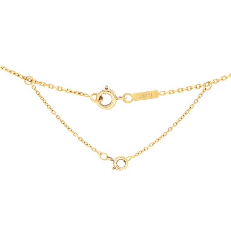 Women's or Men's Vintage Cartier Hindu Diamond Pendant Necklace Set in 18k Yellow Gold For Sale