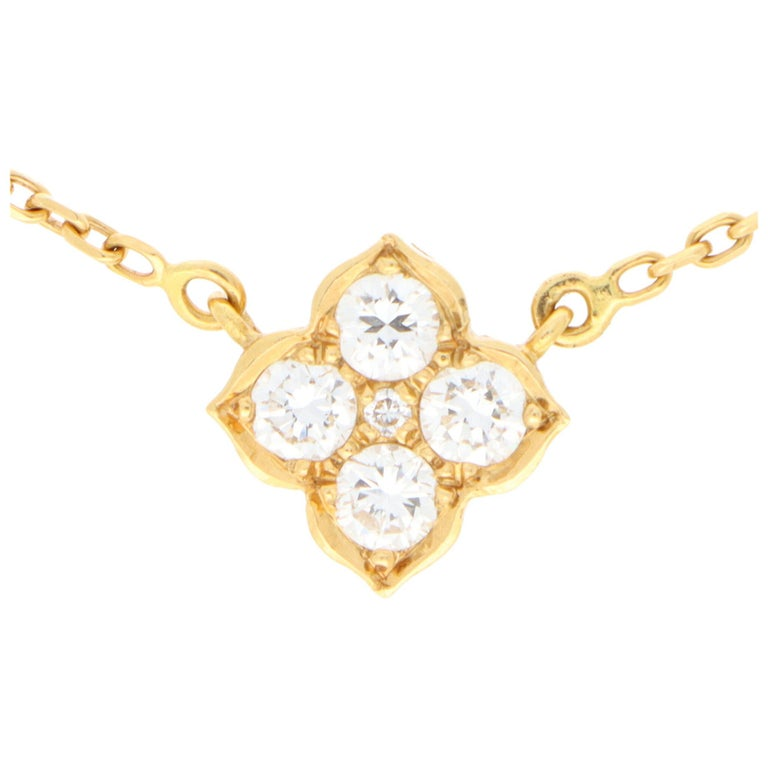 Vintage Cartier Hindu Diamond Pendant Necklace Set in 18k Yellow Gold For Sale