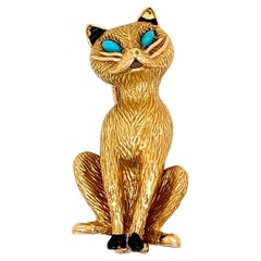 Vintage Cartier Iconic Yellow Gold and Turquoise Set Cat Clip Brooch