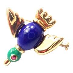 Vintage Cartier Lapis Lazuli Ruby Yellow Gold Bird Pin Brooch