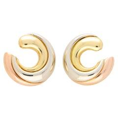 Vintage Cartier Large Trinity Hoop Earrings Set in 18k Rose, Yellow & White Gold