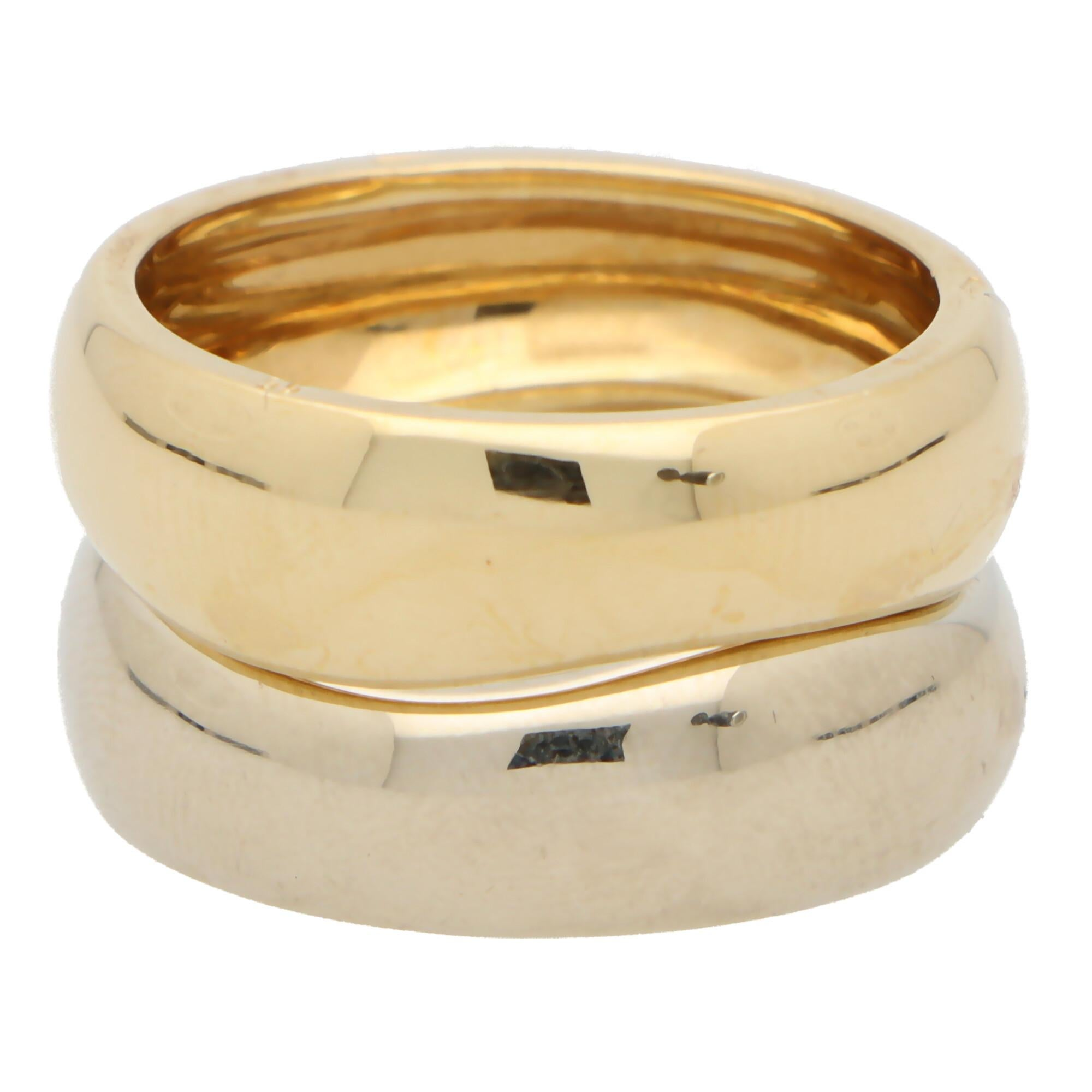 Vintage Cartier Love Me Ring Set in 18k White and Yellow Gold