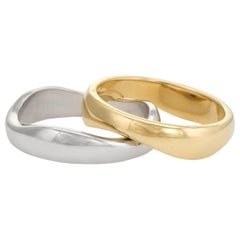 Vintage Cartier Love Me Rings 18k Yellow & White Gold Wave 2 Band Estate Jewelry