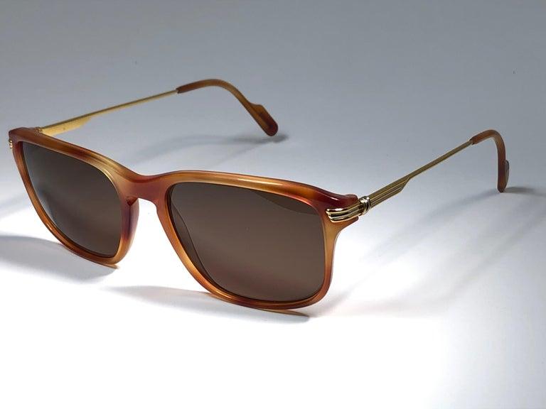 Vintage Cartier Lumen 56 Tortoise 8k Gold Plated Accents 1990 Sunglasses France For Sale 1