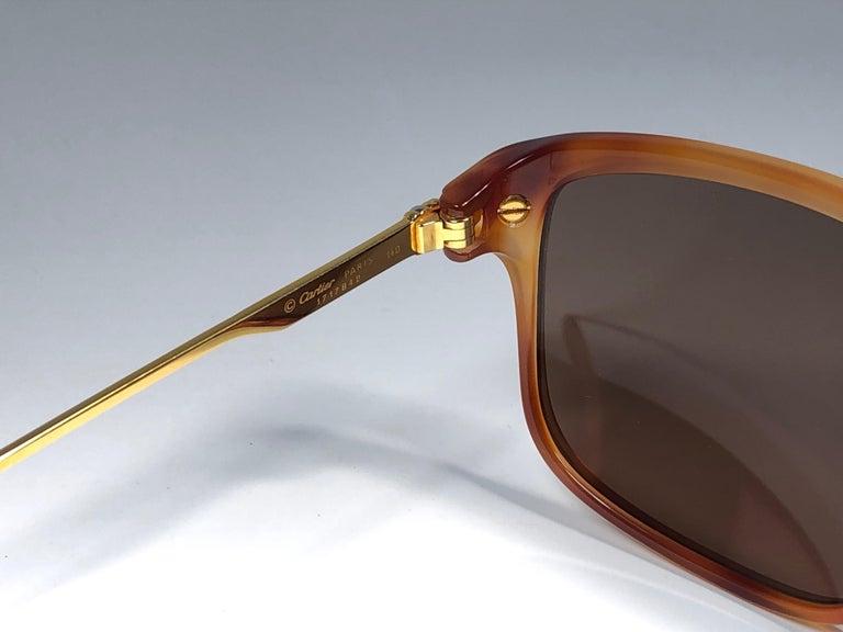 Vintage Cartier Lumen 56 Tortoise 8k Gold Plated Accents 1990 Sunglasses France For Sale 2