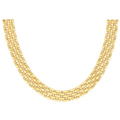 Vintage Cartier Maillon Panthère Five Row Necklace in Solid 18k Yellow Gold