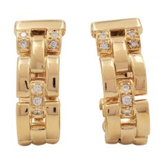 Vintage Cartier 'Maillon Panthère' Three-Row Yellow Gold and Diamond Earrings