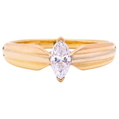 Vintage Cartier Marquise Diamond 18 Karat Tricolor Ring