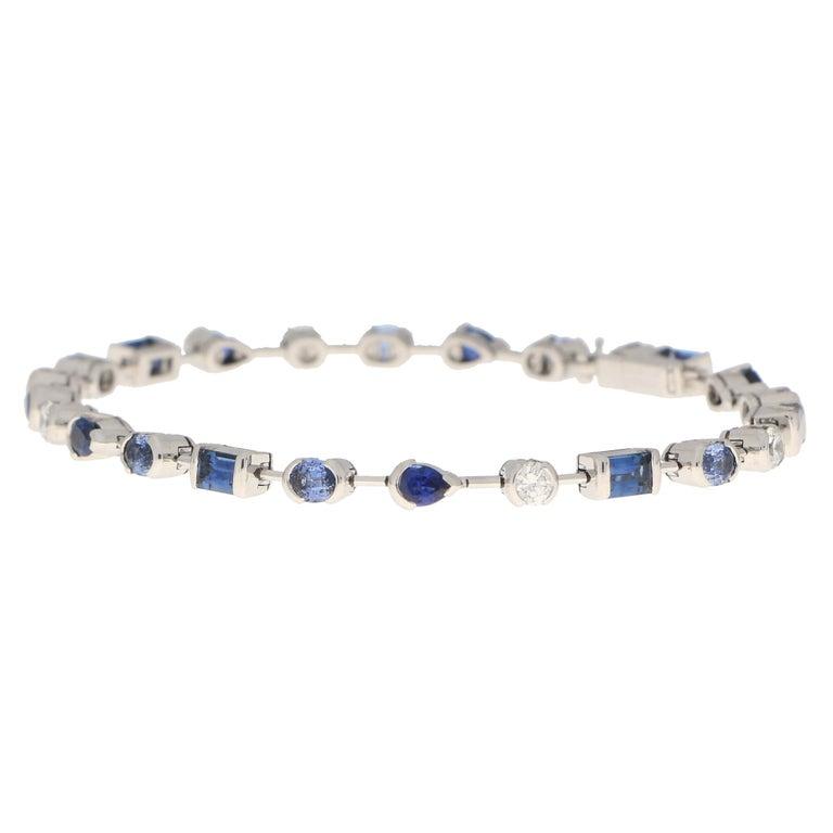 Round Cut Vintage Cartier Meli Melo Blue Sapphire and Diamond Tennis Bracelet in 18k Gold For Sale