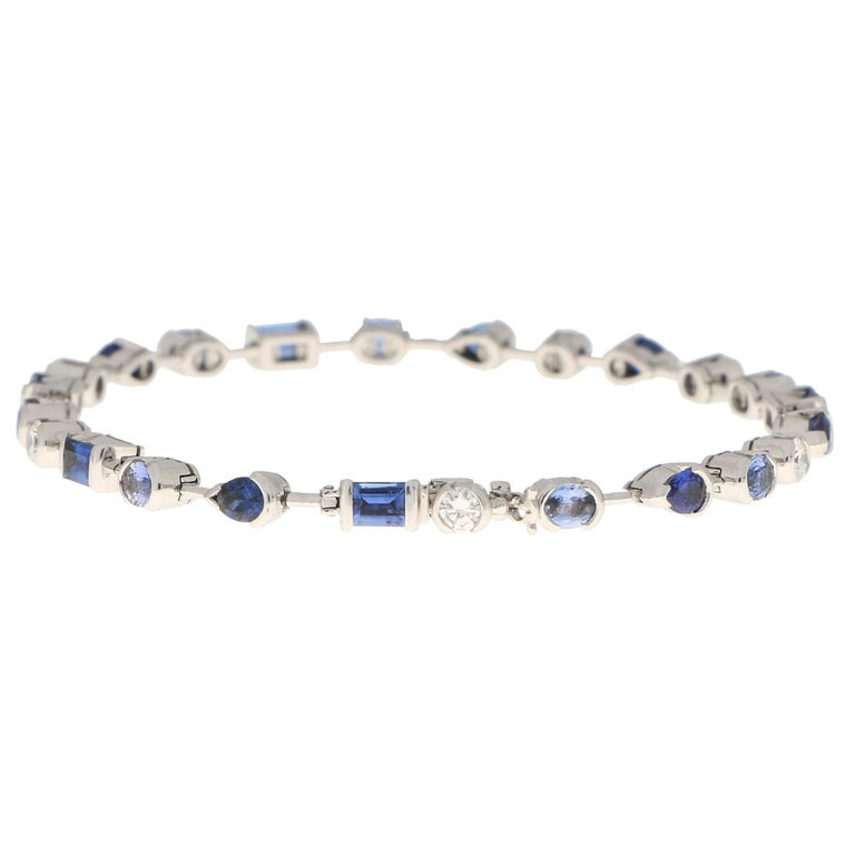 Vintage Cartier Meli Melo Blue Sapphire and Diamond Tennis Bracelet in 18k Gold In Good Condition For Sale In London, GB