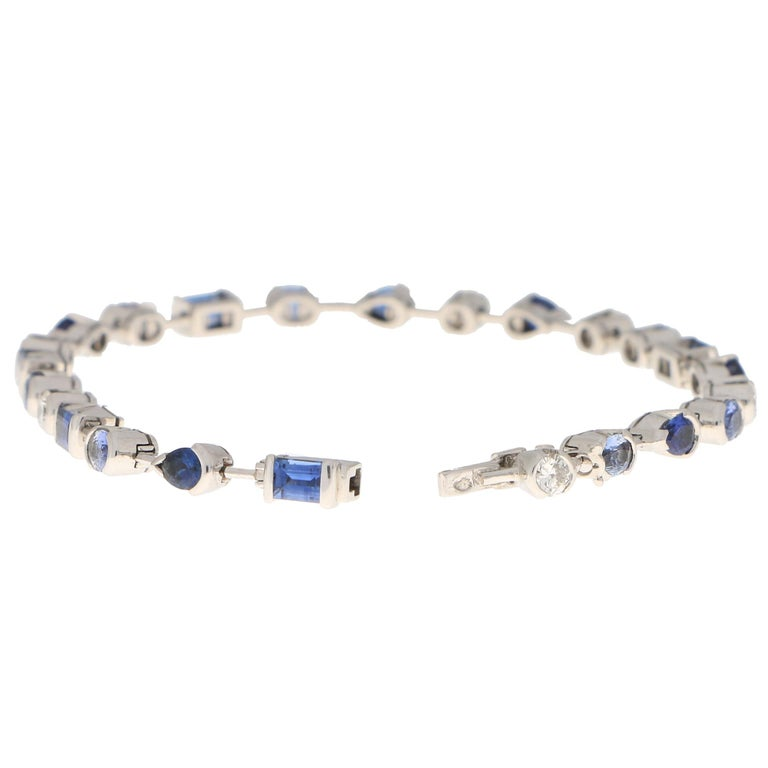 Women's or Men's Vintage Cartier Meli Melo Blue Sapphire and Diamond Tennis Bracelet in 18k Gold For Sale