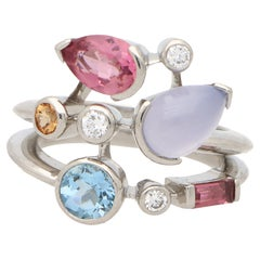 Vintage Cartier Meli Melo Semi Precious Dress Ring Set in Platinum