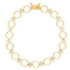 Vintage Cartier Open Link Bracelet Set in 18k Yellow and White Gold