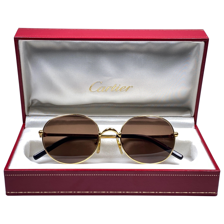 Vintage Cartier Oval Gold Antares 49mm Frame 18k Plated Sunglasses France