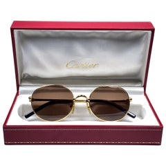 Vintage Cartier Oval Gold Antares 49mm Frame 18k Plated Sunglasses France