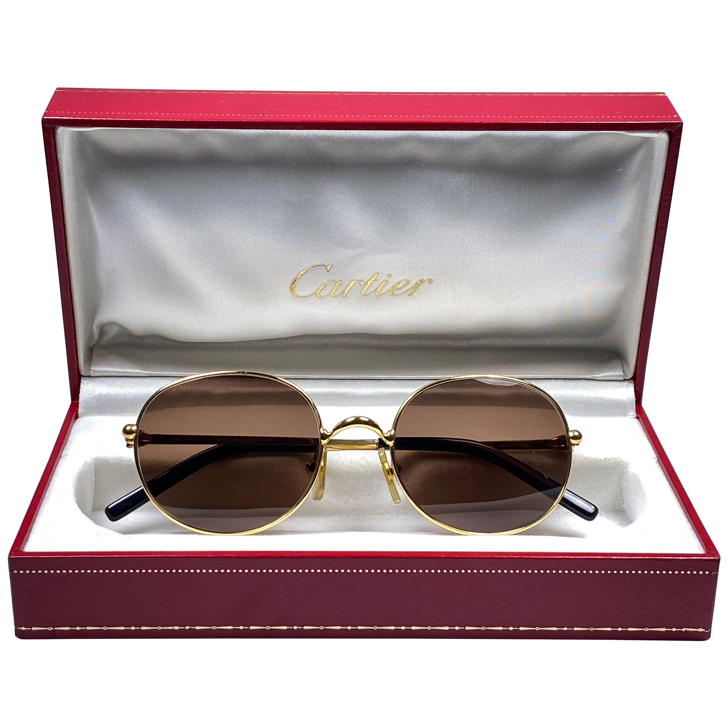 Vintage Cartier Oval Gold Antares 52mm Frame 18k Plated Sunglasses France