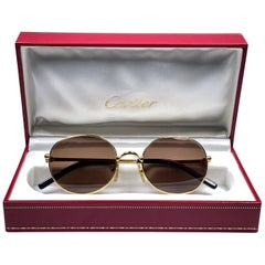 Vintage Cartier Oval Gold Antares 52mm Frame 18k Plated Sunglasses France