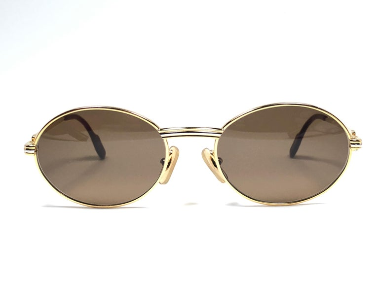 f98af47a614f Women s or Men s Vintage Cartier Oval St Honore Gold 49mm 18k Plated  Sunglasses France For Sale