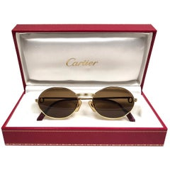 Mint Vintage Cartier Oval St Honore Gold 49mm 18k Plated Sunglasses France