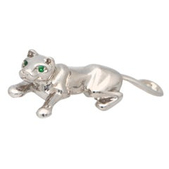 Vintage Cartier Panther Pin/Brooch Set in 18k White Gold with Emerald Eyes
