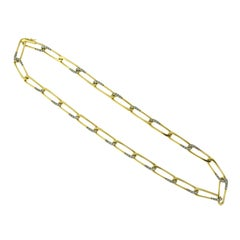 Vintage Cartier Paper Clip Half Diamonds Twist Chain Link Yellow Gold Necklace