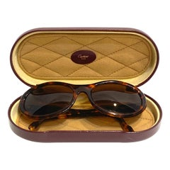 Vintage Cartier Paris Brown Round Sunglasses