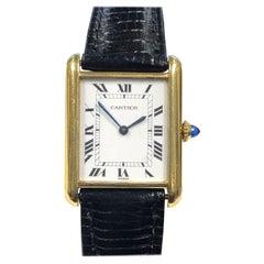 Vintage Cartier Paris Classic Yellow Gold Manual Wind Tank Watch