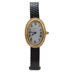Vintage Cartier Paris Diamond Baignoire Watch 56 Diamonds 18 Karat Yellow Gold
